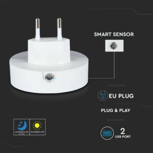 LED éjszakai fény 0,4 W beépített alkonykapcsolóval USB aljzattal 3000K - PRO505