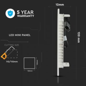 6W Négyszög Samsung chip Premium LED Panel süllyeszthető 3000K - PRO703