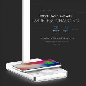 5W LED asztali lámpa vezetéknélküli töltővel 3 in 1 fehér - 8603